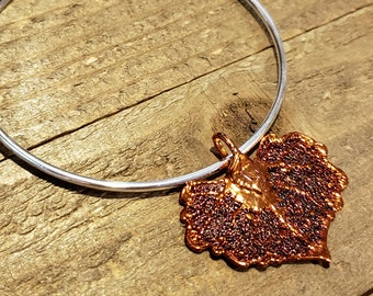 Iridescent Copper Dipped Real Cottonwood Leaf Bracelet Charm Pendant Nature Jewelry (B90)