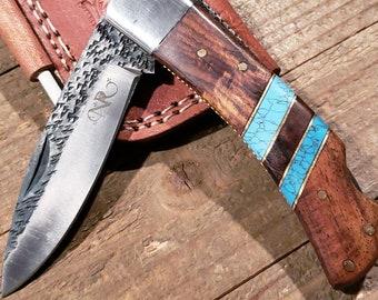Folding Pocket Knife Rose Wood Turquoise Handle Hammered Steel Blade Outdoors Tools (P14)