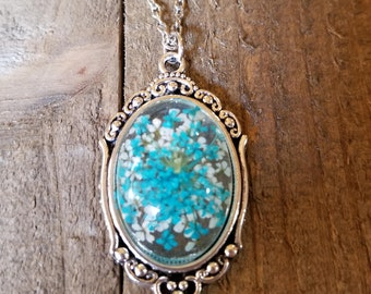 Real Blue Flower Pendant Necklace Nature Jewelry Art Rustic Outdoor Earth Fashion