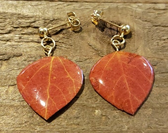 Resin Aspen Real Tree Leaf Post Stud Earrings Nature Jewelry Rustic Natural (E289)