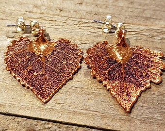 Iridescent Copper Dipped Real Cottonwood Tree Leaf Stud Dangle Earrings Nature Jewelry Beautiful (E297)