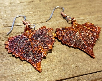 Iridescent Copper Dipped Real Cottonwood Tree Leaf Stud Dangle Earrings Nature Jewelry Beautiful (E283)