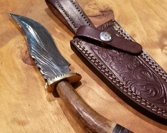 Hunting Knife Deer Antler Handle Damascus Stag Horn Outdoors (K97)