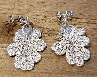 Silver Dipped Real Oak Tree Leaf Stud Dangle Earrings Nature Outdoor Earth Jewelry Beautiful (E302)