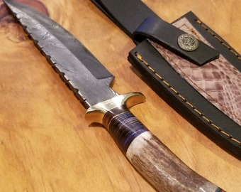 Hunting Knife Deer Antler Handle Damascus Stag Horn Outdoors (A366)