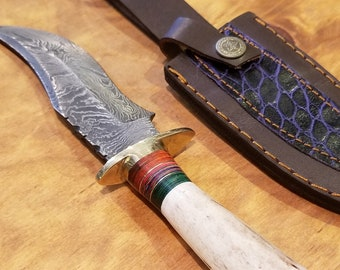 Hunting Knife Deer Antler Handle Damascus Stag Horn Outdoors (K6)