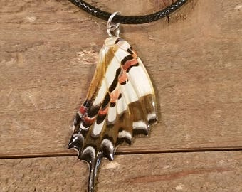 Real Butterfly Wing Necklace On Leather Cord Preserved in Resin Nature Outdoor Boho Hippie Earth Women Jewelry Natural (N67)