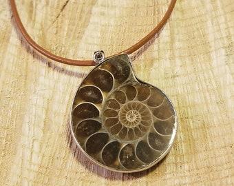 Fossil Ammonite Pendant Necklace Primal Sea Ocean Gem Stone Earth Jewelry Hippie Boho Handmade (N464)