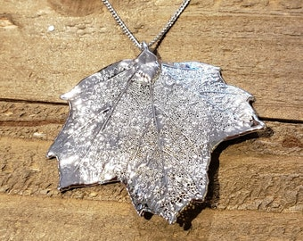Silver Dipped Real Maple Leaf Chain Necklace Pendant Nature Jewelry (N606)