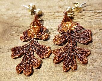 Iridescent Copper Dipped Real Oak Tree Leaf Stud Dangle Earrings Nature Jewelry (E304)