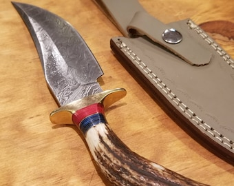 Hunting Knife Deer Antler Handle Damascus Stag Horn Premium Outdoors Tools (A270)