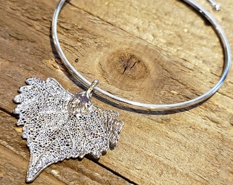 Silver Dipped Real Cottonwood Leaf Bracelet Charm Pendant Nature Jewelry (B78)