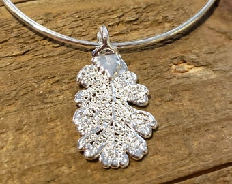 Silver Dipped Real Oak Leaf Bracelet Charm Pendant Nature Outdoors Jewelry (B100)