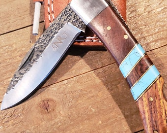 Folding Pocket Knife Rose Wood Turquoise Handle Hammered Steel Blade Outdoors Tools (P2)
