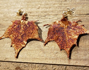 Iridescent Copper Dipped Real Maple Tree Leaf Stud Dangle Earrings Nature Jewelry (E300)