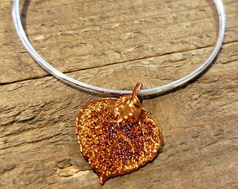 Iridescent Copper Dipped Real Aspen Leaf Bracelet Charm Pendant Nature Jewelry (B94)