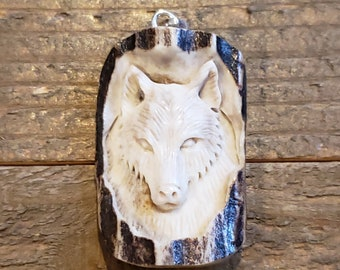Real Deer Antler Carved Wolf Pendant Necklace Tribal Stag Jewelry Rustic Hunting Nature Wild (N364)