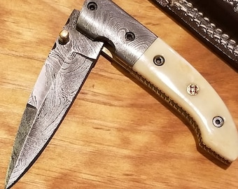 Bone Handle Folding Pocket Knife Damascus Blade Leather Sheath Outdoors (K252)