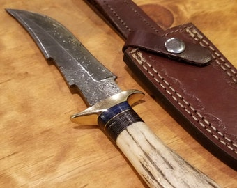 Hunting Knife Deer Antler Handle Damascus Stag Horn Premium Outdoors Tools (A271)