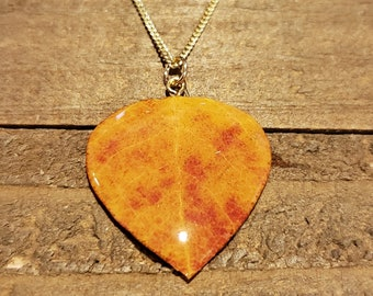 Real Preserved Aspen Leaf In Resin Necklace Pendant Nature Jewelry (N590)