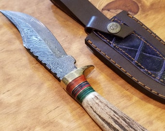 Hunting Knife Deer Antler Handle Damascus Stag Horn Outdoors (K2)