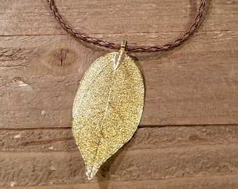 24k Gold Dipped Walnut Leaf Brown Braided Leather Necklace Outdoor Rustic Earth Nature Collection (N28)