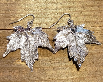 Silver Dipped Real Maple Tree Leaf Drop Dangle Earrings Nature Outdoor Earth Jewelry Beautiful (E277)