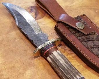 Hunting Knife Deer Antler Handle Damascus Stag Horn Outdoors (K11)