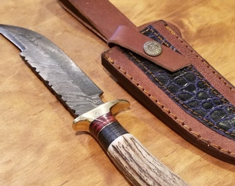 Hunting Knife Deer Antler Handle Damascus Stag Horn Outdoors (K1)