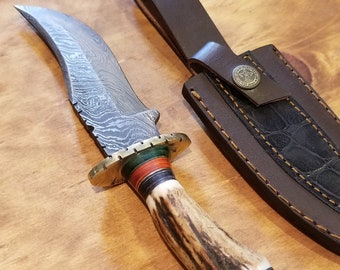 Hunting Knife Deer Antler Handle Damascus Stag Horn Outdoors (K7)