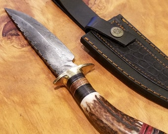 Hunting Knife Deer Antler Handle Damascus Stag Horn Outdoors (A362)