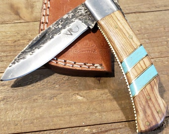 Folding Pocket Knife Olive Wood Turquoise Handle Hammered Steel Blade Outdoors Tools (P17)