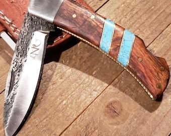 Folding Pocket Knife Rose Wood Turquoise Handle Hammered Steel Blade Outdoors Tools (P9)