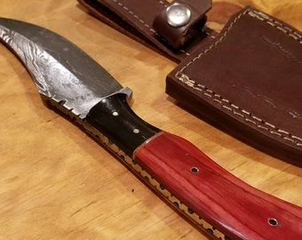 Handmade Red Olive Hardwood Handle Hunting Knife Damascus Steel Blade Collection With Leather Sheathe Premium (A130)