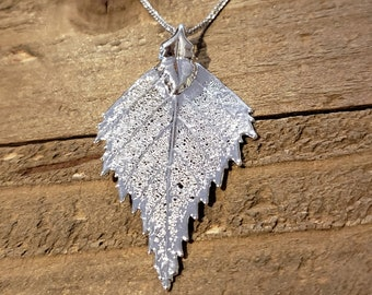 Fine Silver Dipped Real Birch Leaf Necklace Pendant Outdoor Rustic Nature Earth Jewelry Tree Plant (N599)