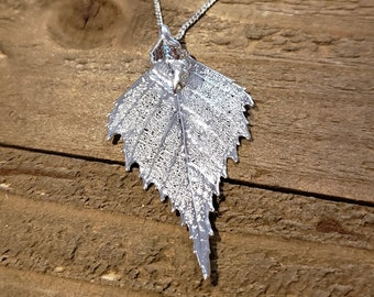 Fine Silver Dipped Real Birch Leaf Necklace Pendant Outdoor Rustic Nature Earth Jewelry Tree Plant (N598)