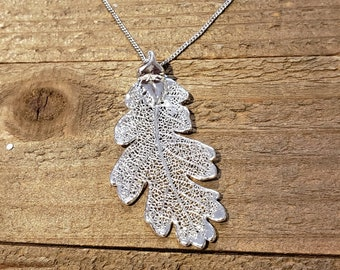 Fine Silver Dipped Real Oak Leaf Necklace Pendant Nature Jewelry (N609)