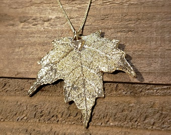 Gold Dipped Real Maple Leaf Chain Necklace Pendant Nature Jewelry (N607)