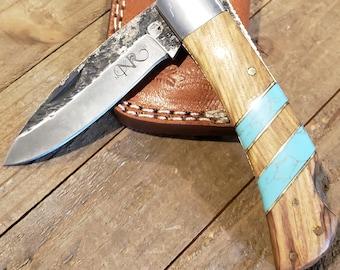Folding Pocket Knife Olive Wood Turquoise Handle Hammered Steel Blade Outdoors Tools (P29)