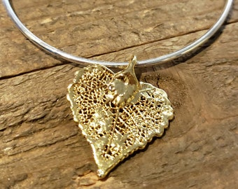 Gold Dipped Real Cottonwood Leaf Bracelet Charm Pendant Nature Jewelry (B98)