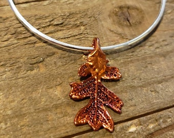 Iridescent Copper Dipped Real Oak Leaf Bracelet Charm Pendant Nature Outdoors Jewelry (B102)