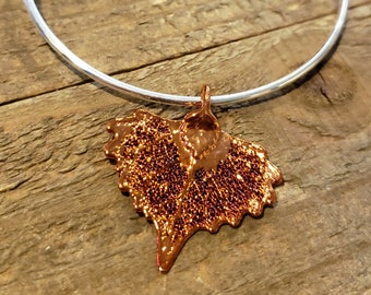 Iridescent Copper Dipped Real Cottonwood Leaf Bracelet Charm Pendant Nature Jewelry (B99)