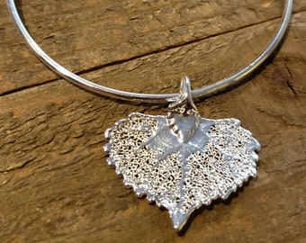 Silver Dipped Real Cottonwood Leaf Bracelet Charm Pendant Nature Jewelry (B97)