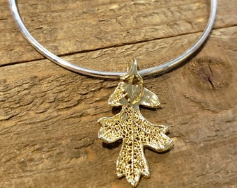 Gold Dipped Real Oak Leaf Bracelet Charm Pendant Nature Outdoors Jewelry (B101)