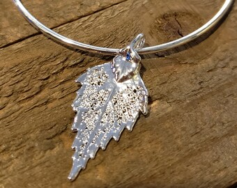 Silver Dipped Real Birch Leaf Bracelet Charm Pendant Nature Jewelry (B95)