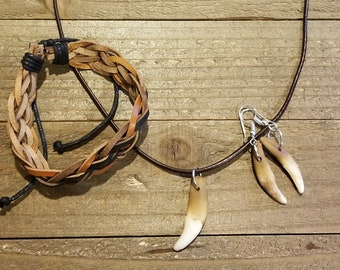 Coyote Tooth Jewelry Set Necklace Earrings Bracelet Collection Tribal Outdoors (S13)