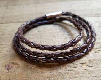 Dark Brown Leather Braided Wrap Bracelet Native American Style Fashion