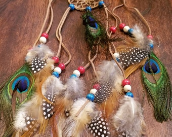 Peacock Feather Headdress Native American Boho Style Hippie Peace Nature Outdoors Fashion (HB7)