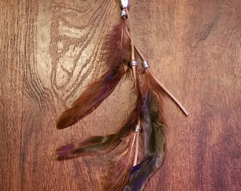 Brown Feather Hair Clip Native American Style Fashion Boho Hippie Head Outdoors Nature Earth (HB15)