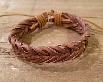 Brown Leather Hand Weaved Adjustable Bracelet Native American Style Fashion Cuff Boho Hippie (B76)